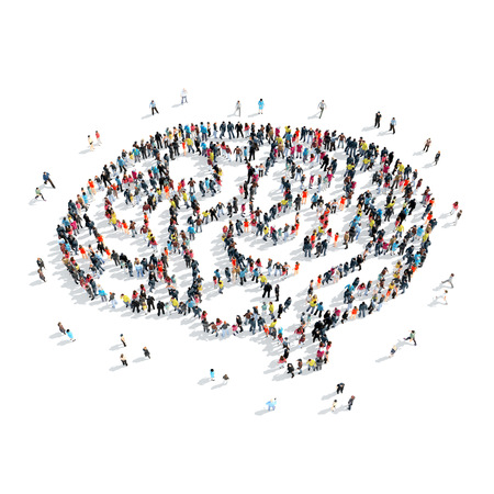 A group of people in the shape of the brain, cartoon, isolated, white background. Stock Photo