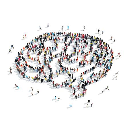 Een groep mensen in de vorm van de hersenen, cartoon, geïsoleerde, witte achtergrond.