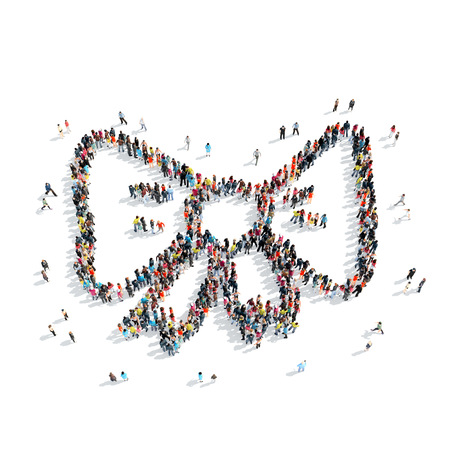 bowtie: A group of people in the shape of bow-tie, cartoon, on a white background.