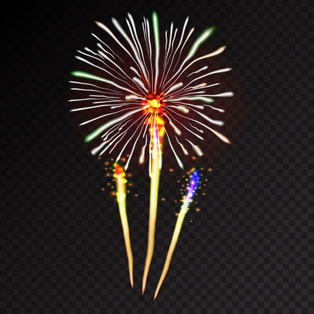 beam with joy: Fireworks festive  bursting with pattern in various forms sparkling icons set black background abstract vector illustration isolated Illustration
