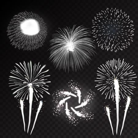 輝くアイコン セット黒地抽象ベクトル イラスト分離された様々 な形でパターンでいっぱいお祝い花火