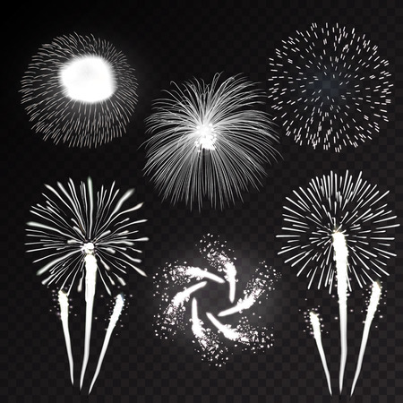 Fireworks festive  bursting with pattern in various forms sparkling icons set black background abstract vector illustration isolated Illustration