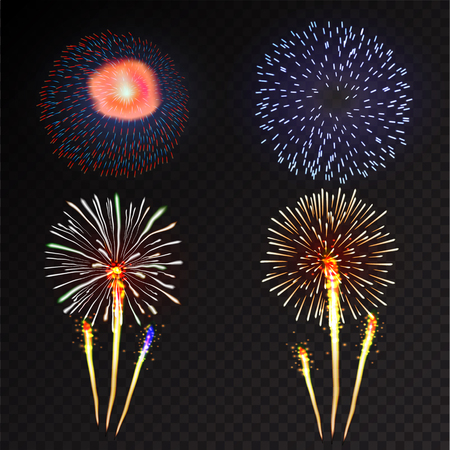 silvester: Fireworks festive  bursting with pattern in various forms sparkling icons set black background abstract vector illustration isolated Illustration
