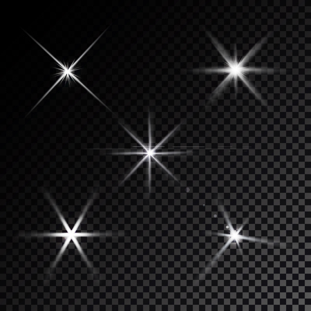 film set: Realistic white lens flares star lights and glow  elements  black background vector illustration