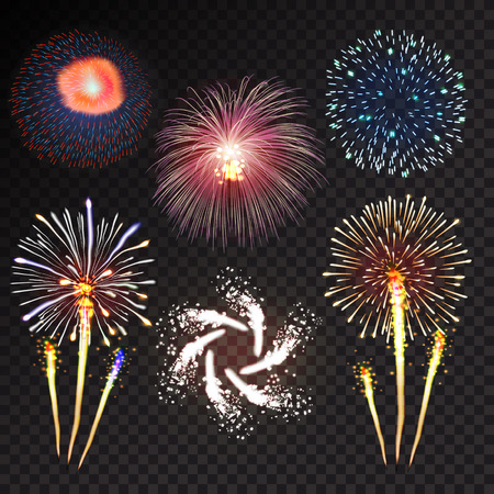 Fireworks festive  bursting with pattern in various forms sparkling icons set black background abstract vector illustration isolated Stock Illustratie