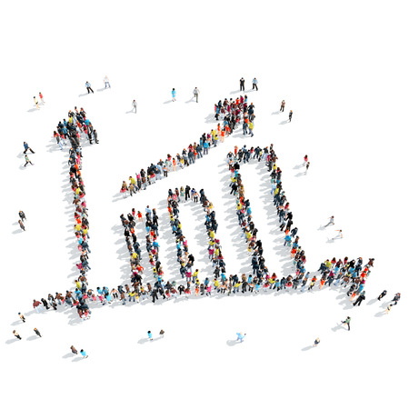 stock predictions: A group of people in the shape of a graph, success, isolated, cartoon, white background.