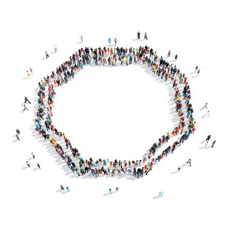 holistic view: A group of people in the shape of frame, isolated, cartoon, white background.