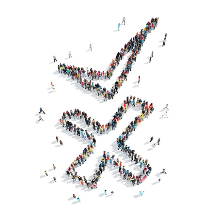 chek: A group of people in the form of chek mark , isolated, cartoon, white background.