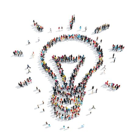 ingenuity: A group of people in the shape of light, idea, isolated, cartoon, white background. Stock Photo