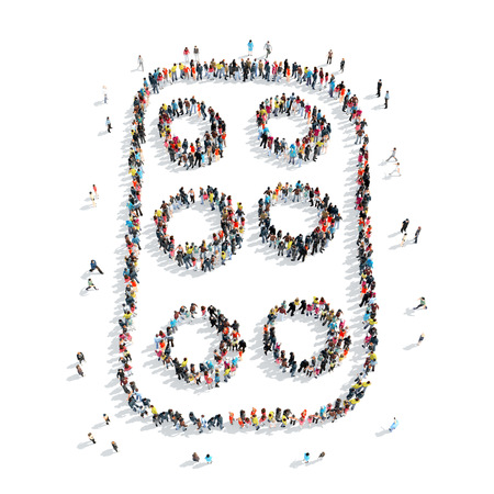 injection valve: A group of people in the shape of pills, medicine, isolated, cartoon, white background.