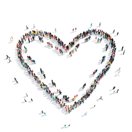 valentine s day beach: A group of people in the shape of heart, wedding, isolated, cartoon, white background. Stock Photo
