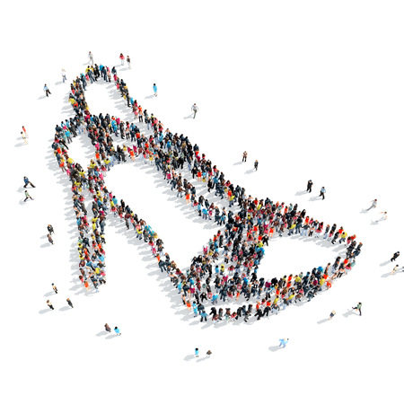 frog queen: A group of people in the shape of shoes, cartoon, isolated, white background.