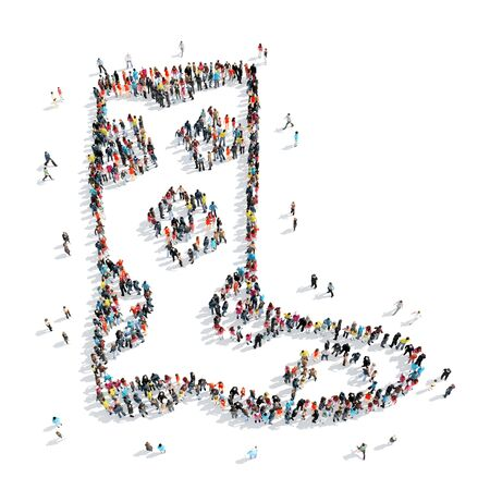 nonsense: A group of people in the shape of boots, cartoon, white background.