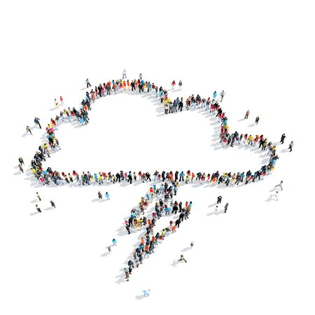 middle air: A group of people in the shape of clouds, weather, cartoon isolated on a white background.