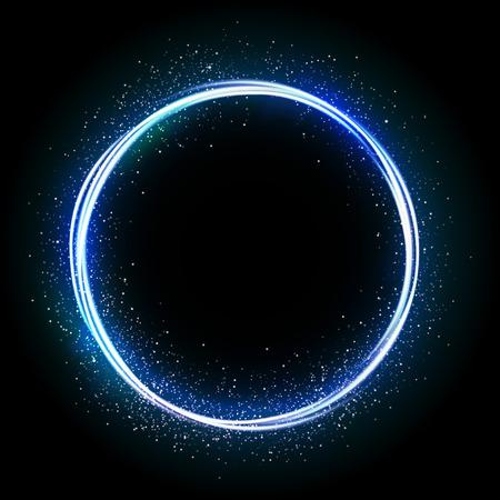 Illustartion of glittering star , dust circle ,glow , lights.