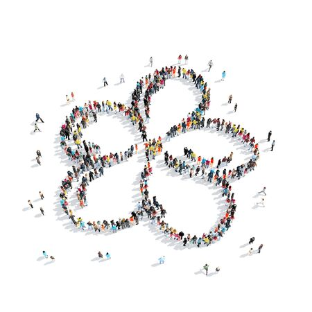 flower shape: A group of people in the shape of a flower, cartoon, isolated, white background.