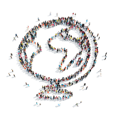 anonymity: A group of people in the shapem of a school compass, cartoon isolated on a white background. Stock Photo