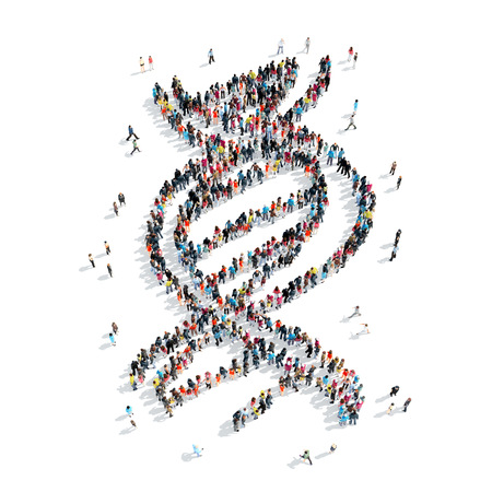 autopsy: A group of people in the shape of DNA, cartoon isolated on a white background.