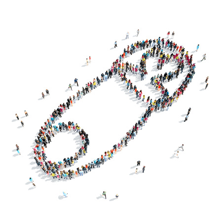 plus size: A group of people in the shape of a pin, cartoon isolated on a white background.