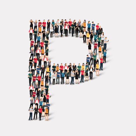 large  group: Large group of people in letter form P.