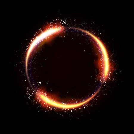 Illustartion of glittering star , dust circle ,glow , gold , lights.