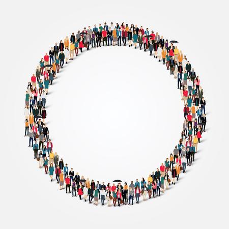 sociedade: Grande grupo de pessoas em forma de círculo.
