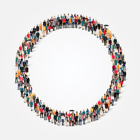 team business: Large group of people in the shape of  circle . Illustration