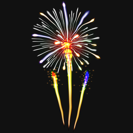 beam with joy: Fireworks festive  bursting with pattern in various forms sparkling icons set black background abstract  illustration isolated