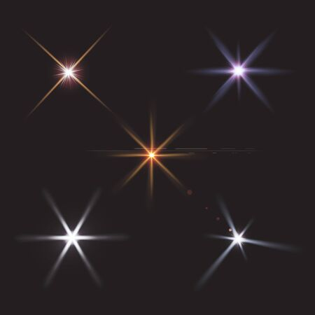 Realistic lens flares star lights and glow  elements  black background  illustration