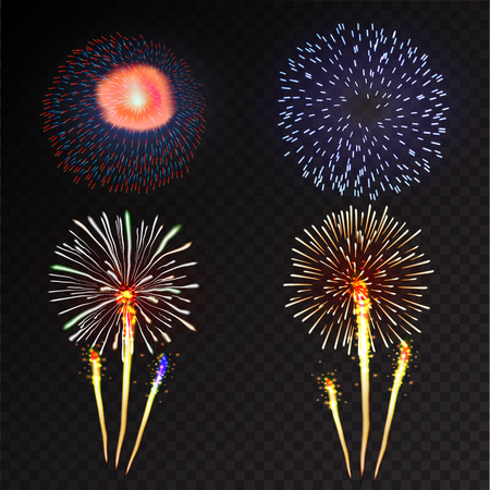 beam with joy: Fireworks festive  bursting with pattern in various forms sparkling icons set black background abstract illustration isolated Stock Photo