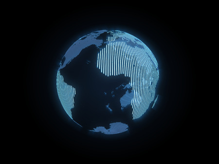 loopable: The hologram of the earth on black background Stock Photo