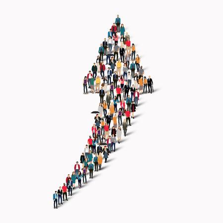 Un gran grupo de personas en la forma de una flecha de dirección. Ilustración vectorial Vectores
