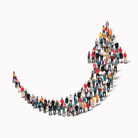 Een grote groep mensen in de vorm van een pijl. Vector illustratie Stockfoto - 47568576