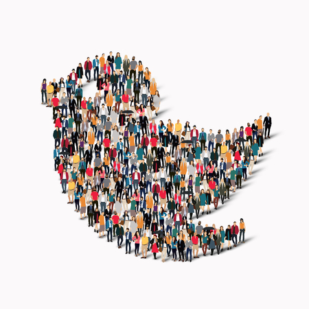 3d dove: A large group of people in the form of bird. Vector illustration