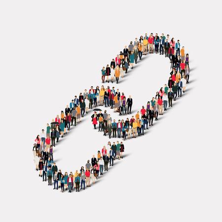 manos unidas: Un gran grupo de personas en forma de eslab�n de la cadena. Ilustraci�n del vector.