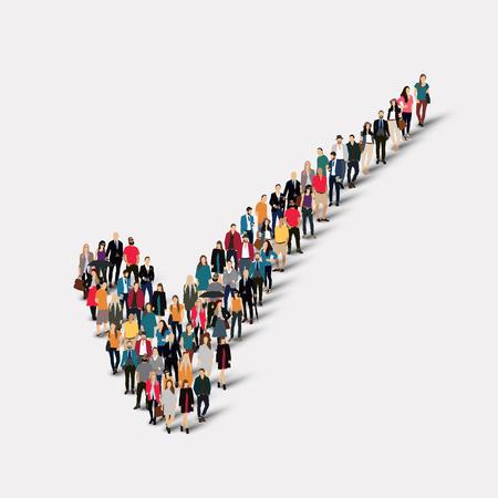 チェック マークの形で人々 の大規模なグループ。ベクトルの図。