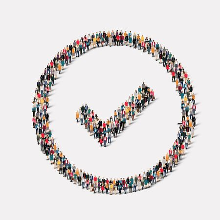 affirmative: A large group of people in the form of checkmark . Vector illustration.
