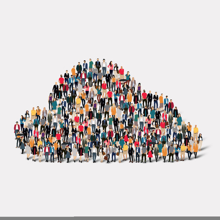 many people: A large group of people in the form of clouds, weather. Vector illustration
