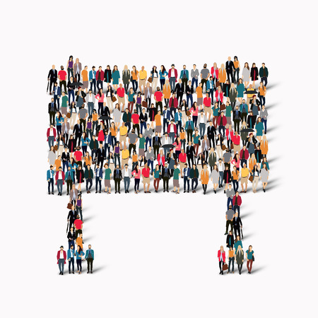 a bulletin board: A large group of people in the form of a bulletin board. Vector illustration Illustration