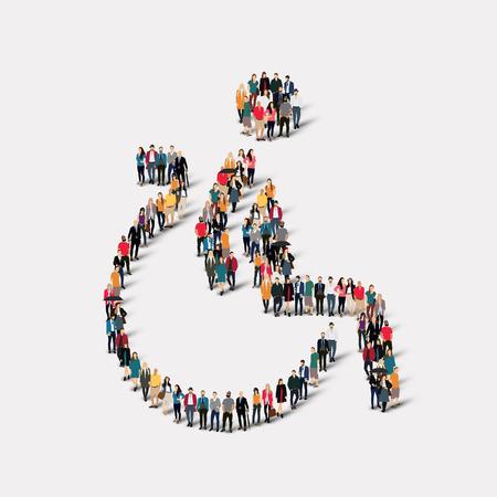 silla de ruedas: Gran grupo de personas en la forma de inválido. Ilustración del vector.