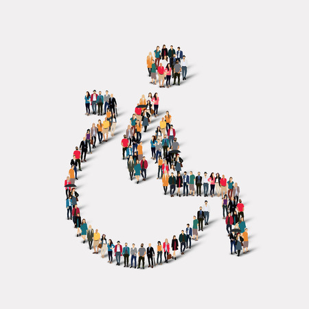 disabled seniors: Large group of people in the shape of invalid. Vector illustration.