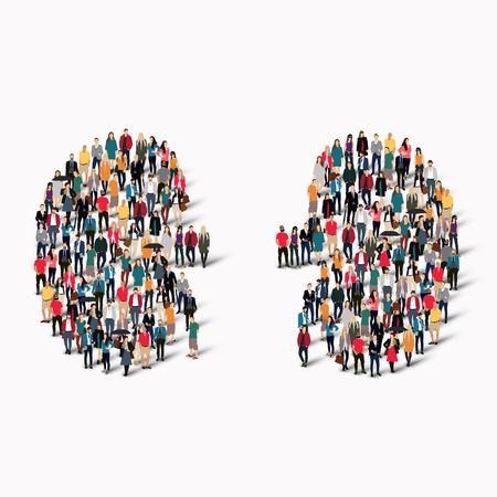 Een grote groep mensen in de vorm van nier menselijke geneeskunde. vector illustratie Stock Illustratie