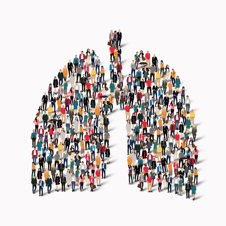 gather: A large group of people in the form of lungs human medicine. Vector illustration