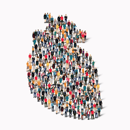 A large group of people in the shape of heart medicine. Vector illustration