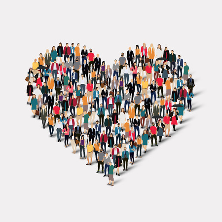 large: A large group of people in the form of heart , love . Vector illustration.