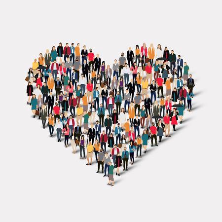 Een grote groep mensen in de vorm van hart, liefde. Vector illustratie. Stock Illustratie