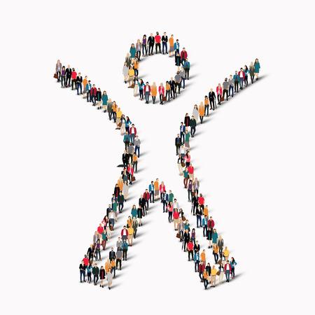 trabajo social: Gran grupo de personas en la forma de hombre. Ilustración del vector. Vectores
