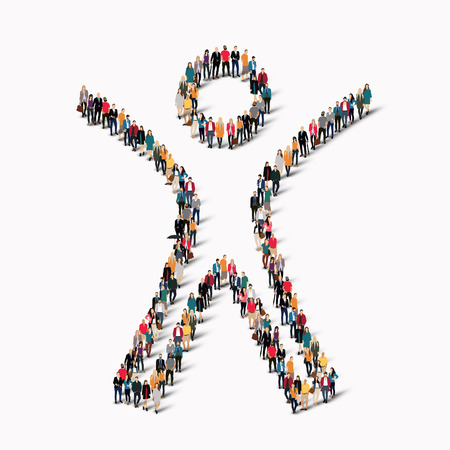 standing on white background: Large group of people in the shape of man. Vector illustration.