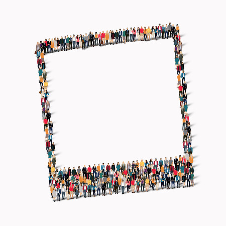 foto: A large group of people in the Polaroid foto. Vector illustration Illustration