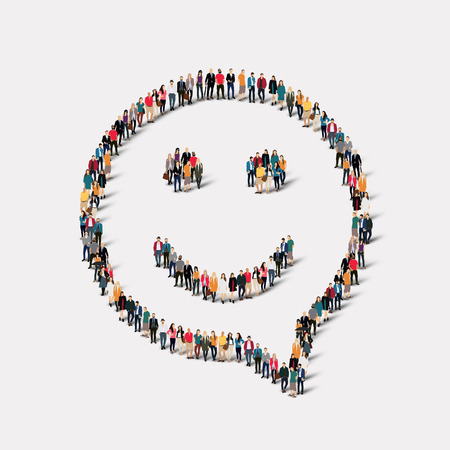 Large group of people in the shape of chat bubbles, smile. Vector illustration Stock Illustratie
